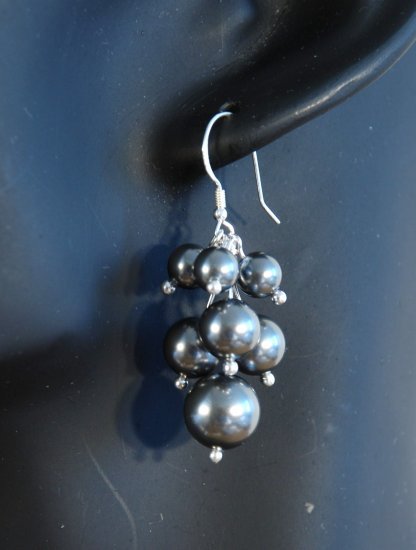 Designer fashion, bridal, prom crystal earrings jewelry, Swarovski Dark Grey & Silver - EAR 0017