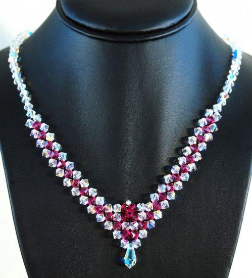 Designer fashion, bridal, prom crystal necklace jewelry, Swarovski Crystal AB & Fuchsia - NEC 0001