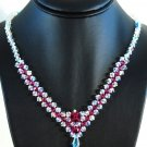 Designer fashion, bridal, prom crystal necklace jewelry, Swarovski Crystal AB & Fuchsia - NEC 0001