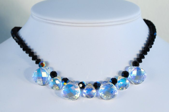 Designer fashion, bridal, crystal necklace jewelry, Swarovski Crystal AB / Jet / Jet AB - NEC 0007