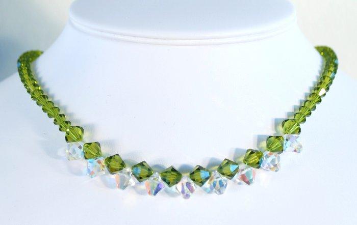 Designer fashion, bridal, crystal necklace jewelry, Swarovski Olivine AB & Crystal AB - NEC 0008