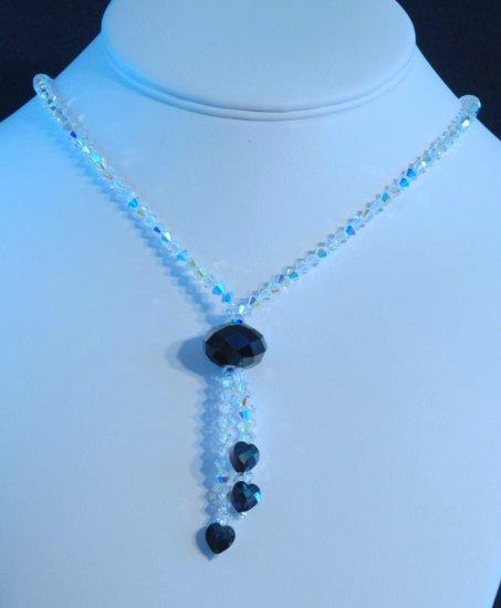 Designer fashion, bridal, prom crystal necklace jewelry, Swarovski Crystal AB & Jet - NEC 0009