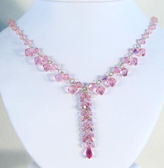Designer crystal necklace jewelry, Swarovski Rose AB / Rose AB 2X / Rose Satin / Rose - NEC 0014