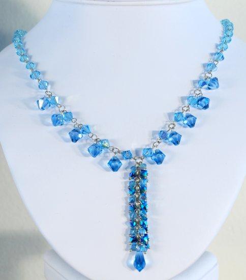 Designer crystal necklace jewelry, Swarovski Light Blue AB & Crystal Metallic Blue 2X - NEC 0015