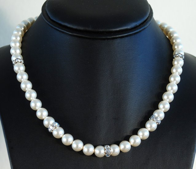 Designer bridal, crystal necklace jewelry, Swarovski Cream Pearls / Crystal / Silver - NEC 0017