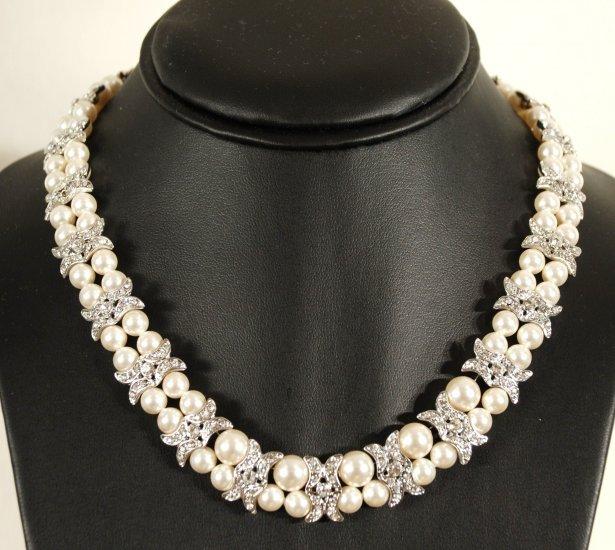 Designer bridal, crystal necklace jewelry, Swarovski Cream Pearls / Crystal / Silver - NEC 0018