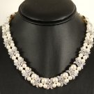 Designer bridal, crystal necklace jewelry, Swarovski Cream Pearls / Crystal / Silver - NEC 0018