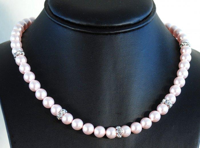 Designer bridal, crystal necklace jewelry, Swarovski Rosaline Pearls / Crystal / Silver - NEC 0019