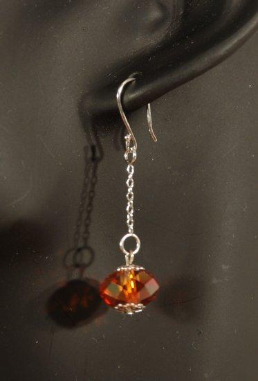 Designer crystal earrings jewelry, sterling silver Swarovski Padparadscha AB & Silver - EAR 0020