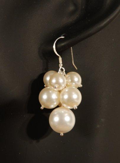 Designer fashion, bridal, prom crystal earrings jewelry, Swarovski Creamrose Light Pearl - EAR 0023