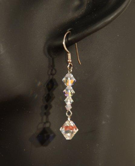Designer fashion, bridal, prom crystal earrings jewelry, Swarovski Crystal AB - EAR 0030