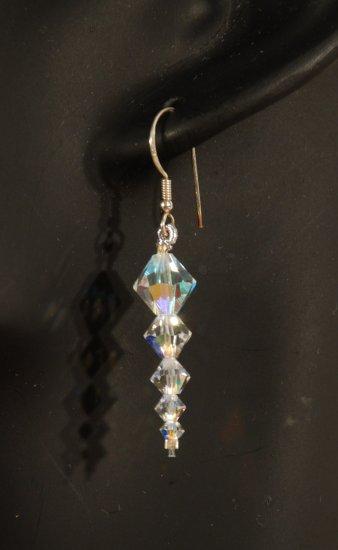 Designer fashion, bridal, prom crystal earrings jewelry, Swarovski Crystal AB - EAR 0031