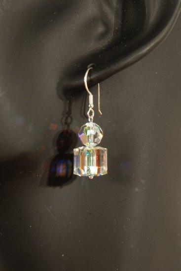 Designer fashion, bridal, prom crystal earrings jewelry, Swarovski Crystal AB - EAR 0033