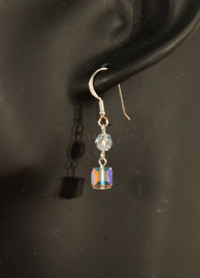 Designer fashion, bridal, prom crystal earrings jewelry, Swarovski Crystal AB - EAR 0034
