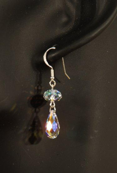 Designer fashion, bridal, prom crystal earrings jewelry, Swarovski Crystal AB - EAR 0035