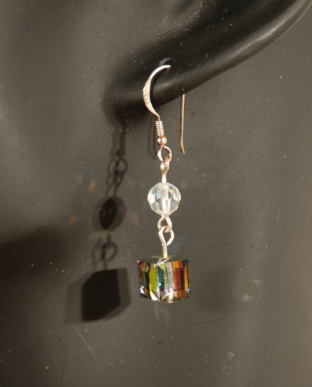 Designer bridal, crystal earrings jewelry, Swarovski Crystal AB & Vitrail MED AB A - EAR 0037