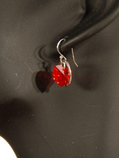 Designer crystal earrings jewelry, sterling silver Swarovski Light Siam AB & Silver - EAR 0050