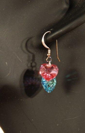 Designer fashion, bridal, crystal earrings jewelry, Swarovski Aquamarine AB & Rose AB - EAR 0052
