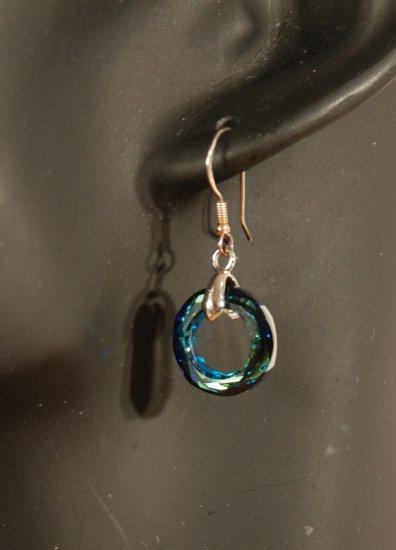 Designer fashion, bridal, prom crystal earrings jewelry, Swarovski Blue Zircon AB - EAR 0054