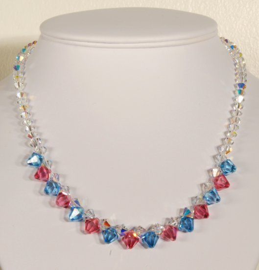 Designer bridal, crystal necklace jewelry, Swarovski Crystal AB / Rose / Aquamarine - NEC 0021