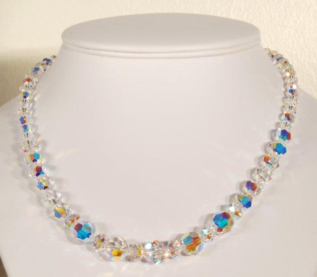 Designer fashion, bridal, prom crystal necklace jewelry, Swarovski Crystal AB - NEC 0026