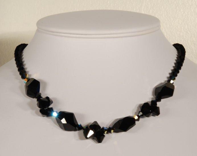 Designer fashion, bridal, prom crystal necklace jewelry, Swarovski Crystal AB - NEC 0027