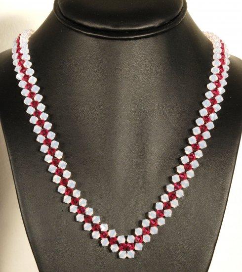 Designer fashion, bridal, crystal necklace jewelry, Swarovski Crystal Moonlight & Ruby - NEC 0029