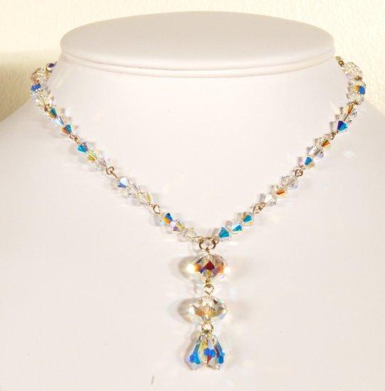 Designer fashion, bridal, prom crystal necklace jewelry, Swarovski Crystal AB - NEC 0031