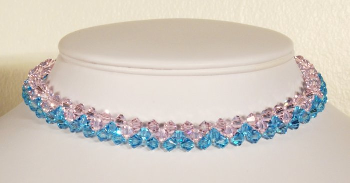 Designer bridal, crystal necklace jewelry, Swarovski Rose Water Opal & Blue Zircon - NEC 0032