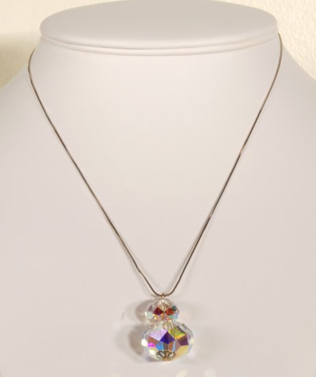 Designer bridal, prom crystal necklace jewelry, sterling silver Swarovski Crystal AB - NEC 0033