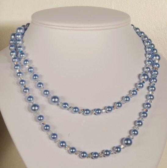 Designer fashion, bridal, crystal necklace jewelry, Swarovski Crystal AB & Light Blue - NEC 0034
