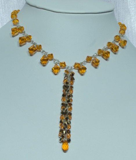 Designer fashion, bridal, prom crystal necklace jewelry, Swarovski Topaz & Mocca - NEC 0038