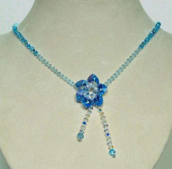 Designer fashion, bridal, crystal necklace jewelry, Swarovski Crystal AB & Aquamarine AB - NEC 0041
