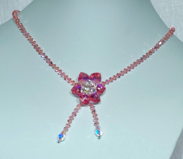 Designer bridal, crystal necklace jewelry, Swarovski Crystal AB / Light Rose AB / Rose AB - NEC 0042