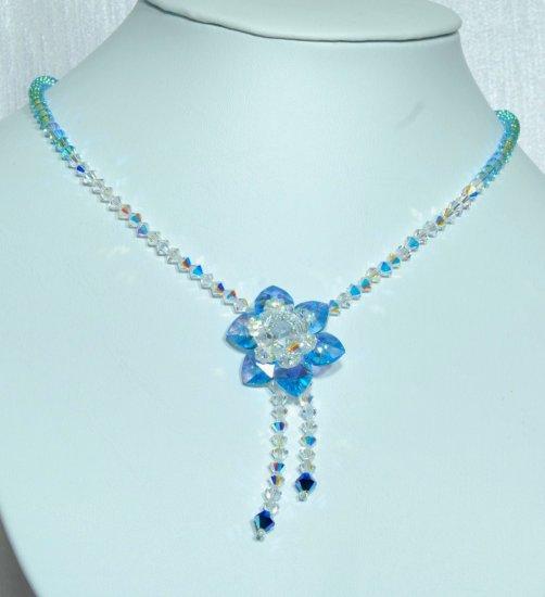 Designer necklace, Swarovski Crystal AB / Aquamarine AB / Crystal Metallic Blue 2X - NEC 0044