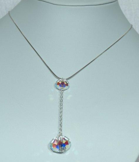 Designer fashion, bridal, prom crystal necklace jewelry, Swarovski Crystal AB - NEC 0055