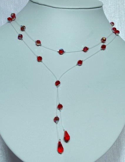 Designer fashion, bridal, prom crystal necklace jewelry, Swarovski Siam AB - NEC 0057