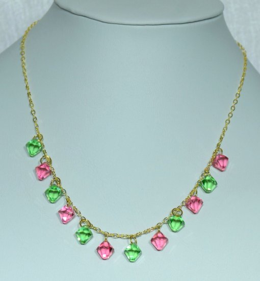 Designer fashion, bridal, prom crystal necklace jewelry, Swarovski Peridot & Light Rose - NEC 0058