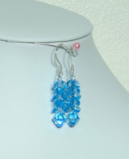 Designer fashion, bridal, crystal earrings jewelry, Swarovski Aquamarine - EAR 0060