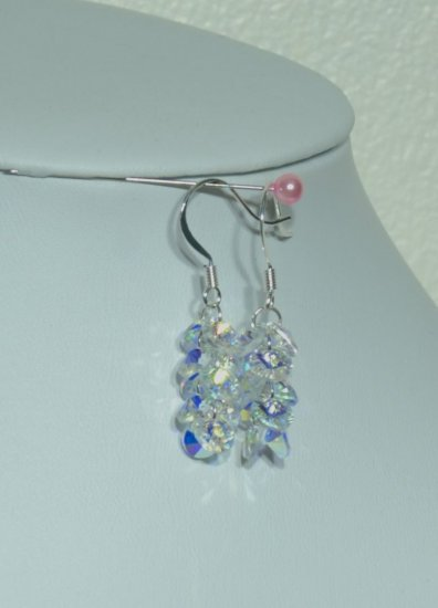 Designer fashion, bridal, crystal earrings jewelry, Swarovski Crystal AB - EAR 0061
