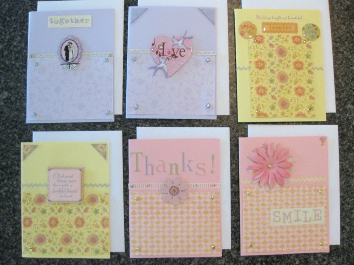 Set of 6 Assorted Hand-made Greeting Cards