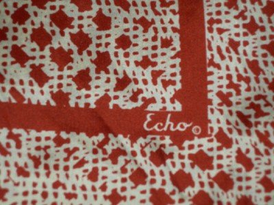 Vintage Echo Rust & White Abstract Silk Square Scarf