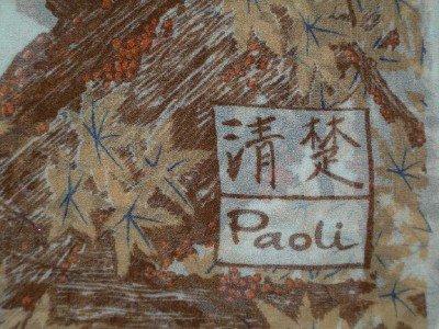 Vintage Paoli Silk Scarf With  Asian Signature  Orange Birds