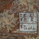 Vintage Paoli Silk Scarf With  Asian Signature  Orange Birds