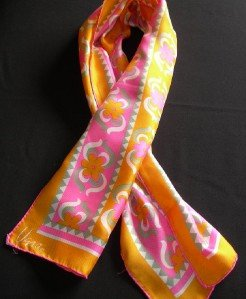 Vera Neumann 60's Mod Orange, Pink & Grey Flowers Long Scarf