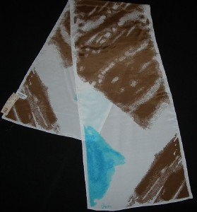 Vera Neumann Brown and Blue Splashes of Color Oblong Scarf