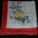 Vintage 1950's Floral - Roses- Large Square Silk Scarf