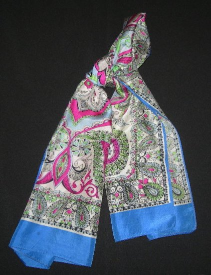 Vintage Large Oblong Paisley Print Scarf Blue, Pink & Green