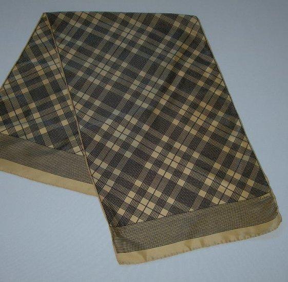 Vintage Echo Black Palid on Gold Silk Oblong Scarf
