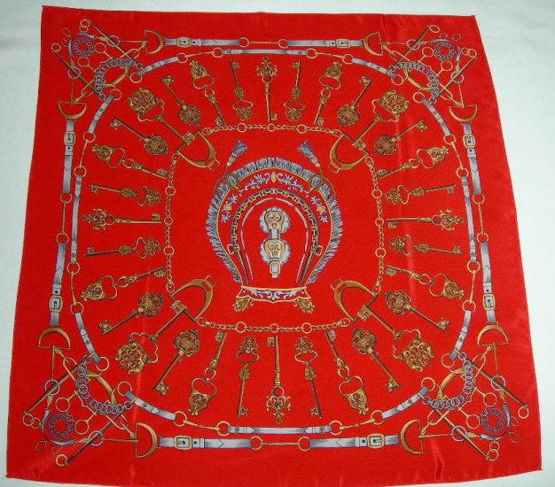 Vintage Equestrian Square Scarf in Reds Greys and Golds